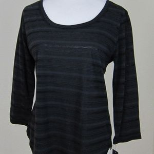 Daisy Fuentes Top Shirt M Black Striped Sheer NEW